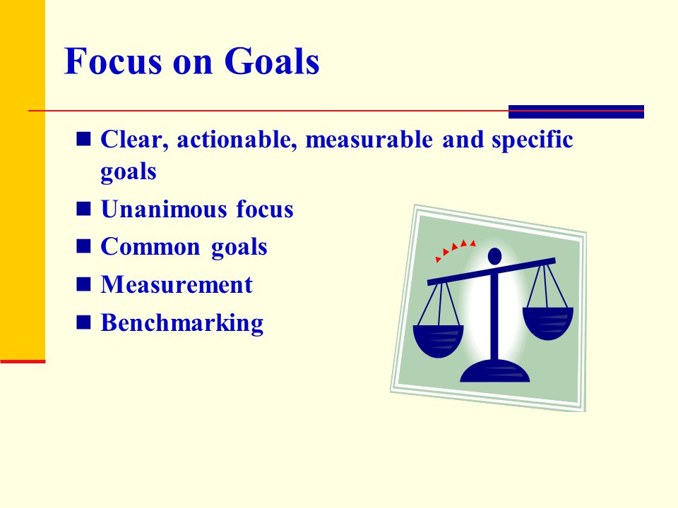 Focus on Goals Clear, actionable, measurable and specific goals