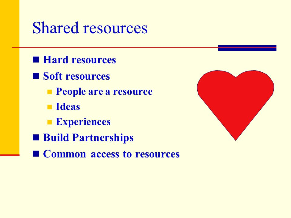 Shared resources Hard resources Soft resources Build Partnerships