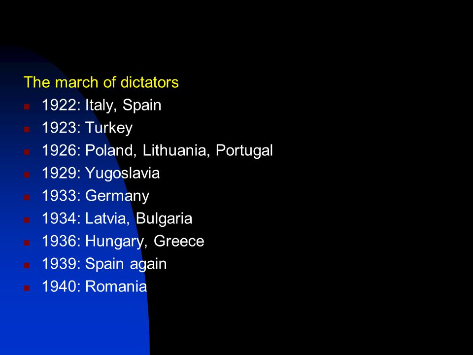 The march of dictators 1922: Italy, Spain. 1923: Turkey. 1926: Poland, Lithuania, Portugal. 1929: Yugoslavia.