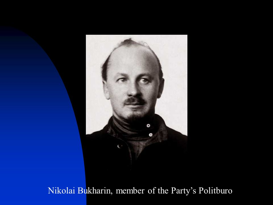 Nikolai Bukharin, member of the Party's Politburo