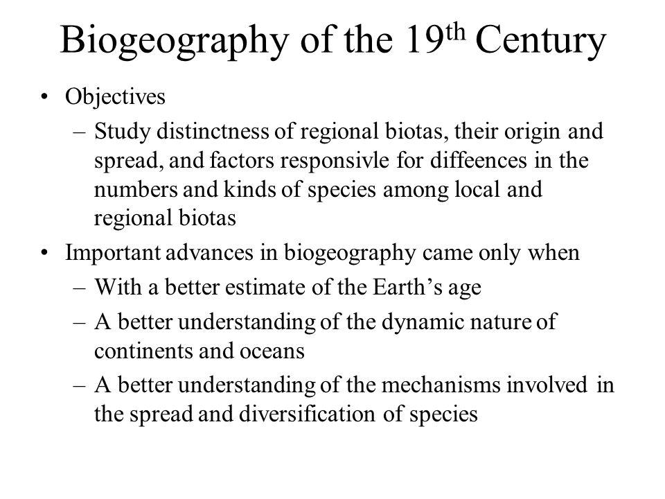 Biogeography of the 19th Century