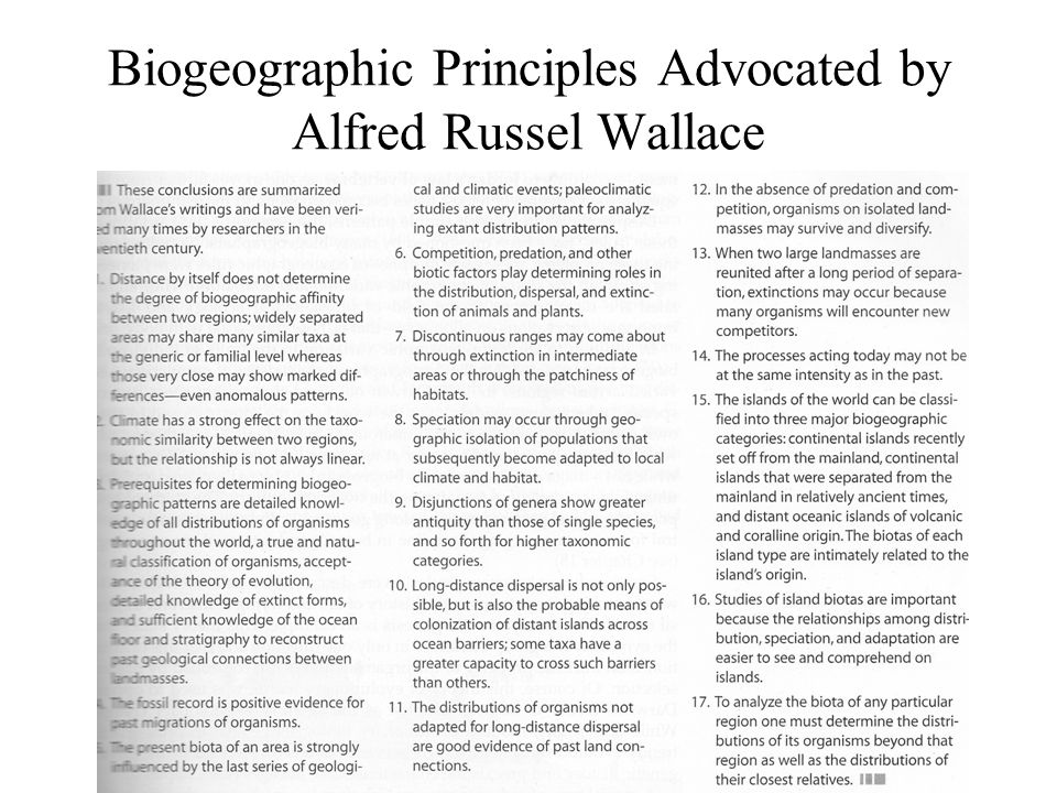 Biogeographic Principles Advocated by Alfred Russel Wallace