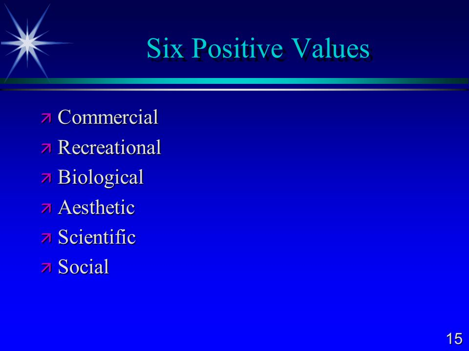 Six Positive Values Commercial Recreational Biological Aesthetic