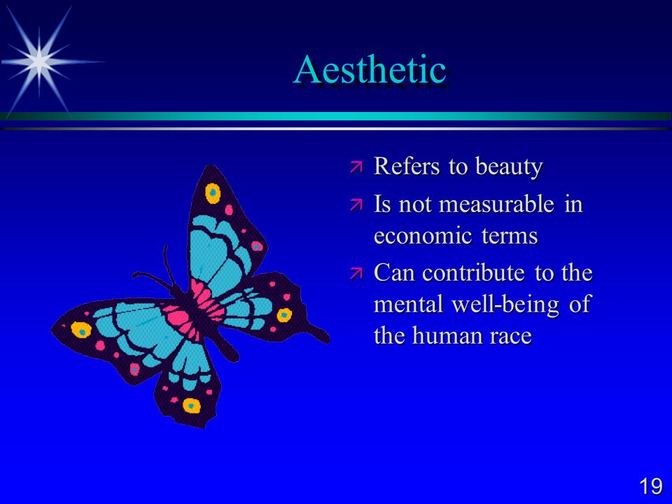 Aesthetic Refers to beauty Is not measurable in economic terms
