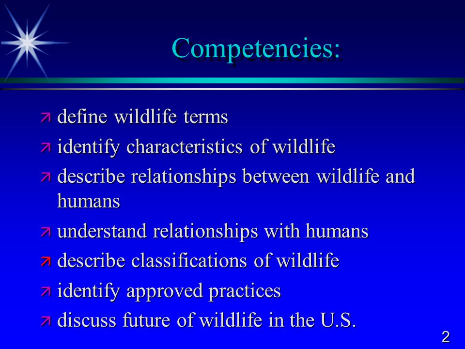 Competencies: define wildlife terms
