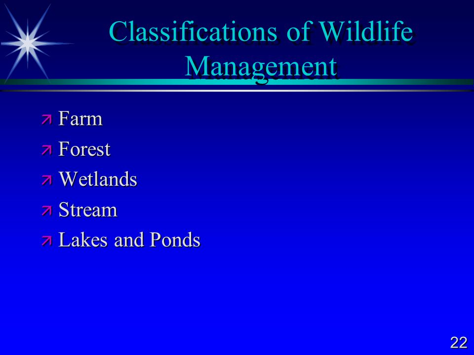 Classifications of Wildlife Management
