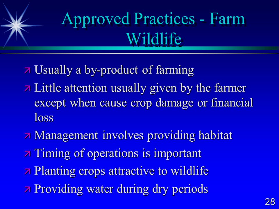 Approved Practices - Farm Wildlife