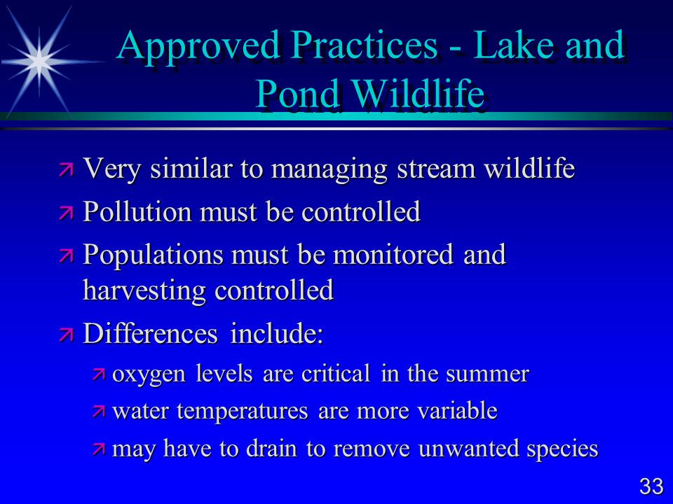 Approved Practices - Lake and Pond Wildlife