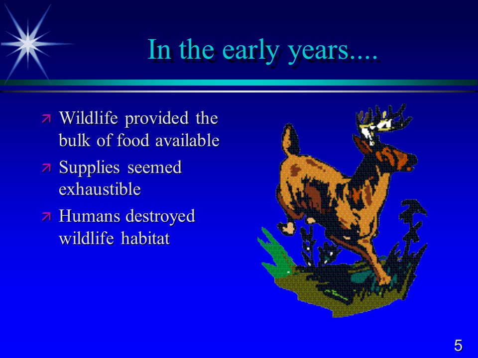 In the early years.... Wildlife provided the bulk of food available