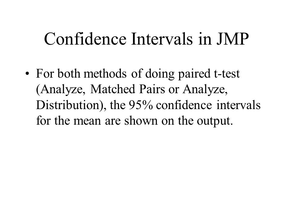 Confidence Intervals in JMP