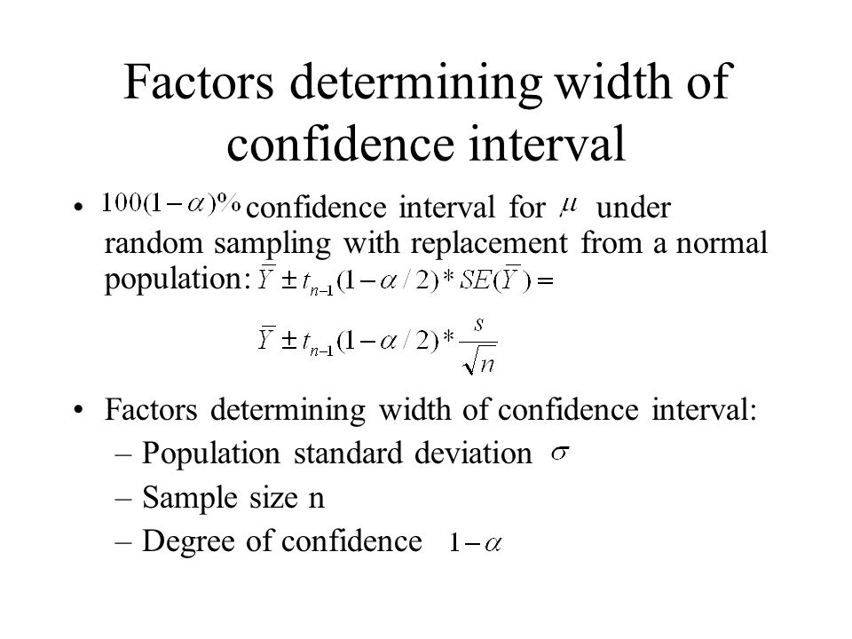 Factors determining width of confidence interval