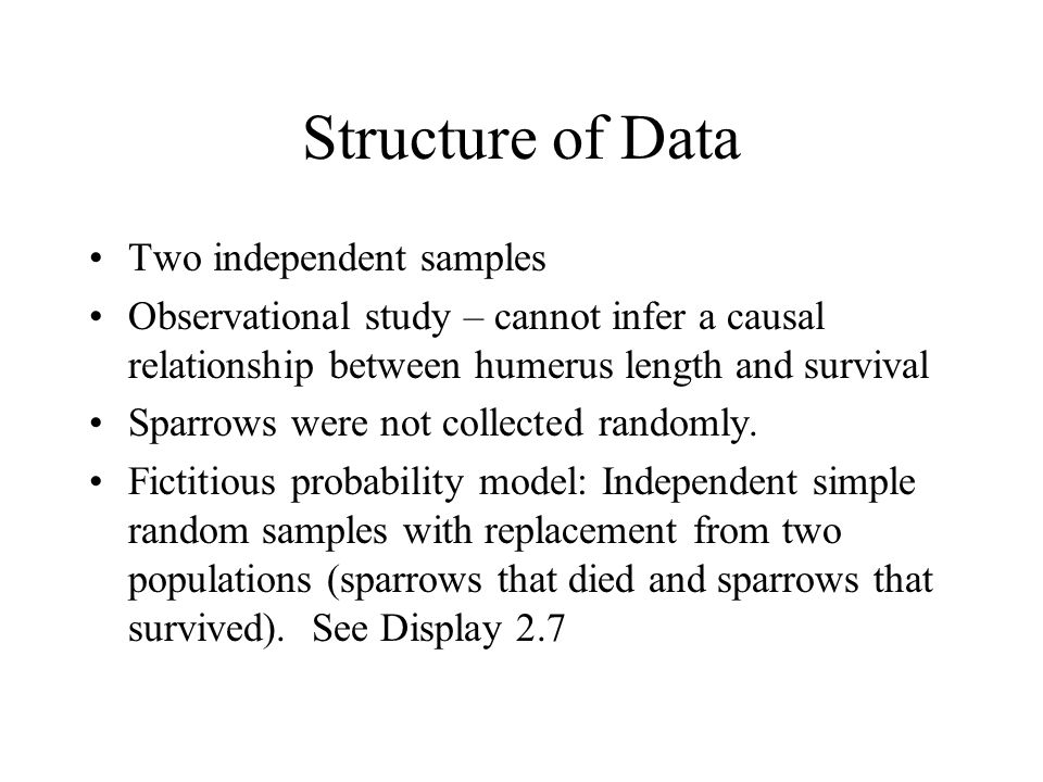 Structure of Data Two independent samples