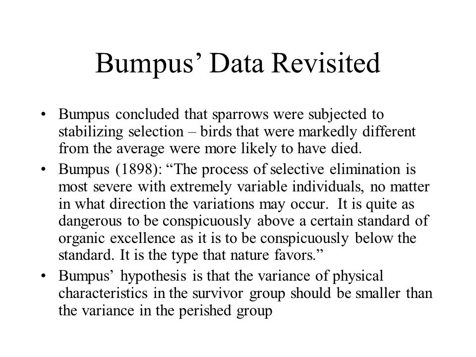 Bumpus' Data Revisited