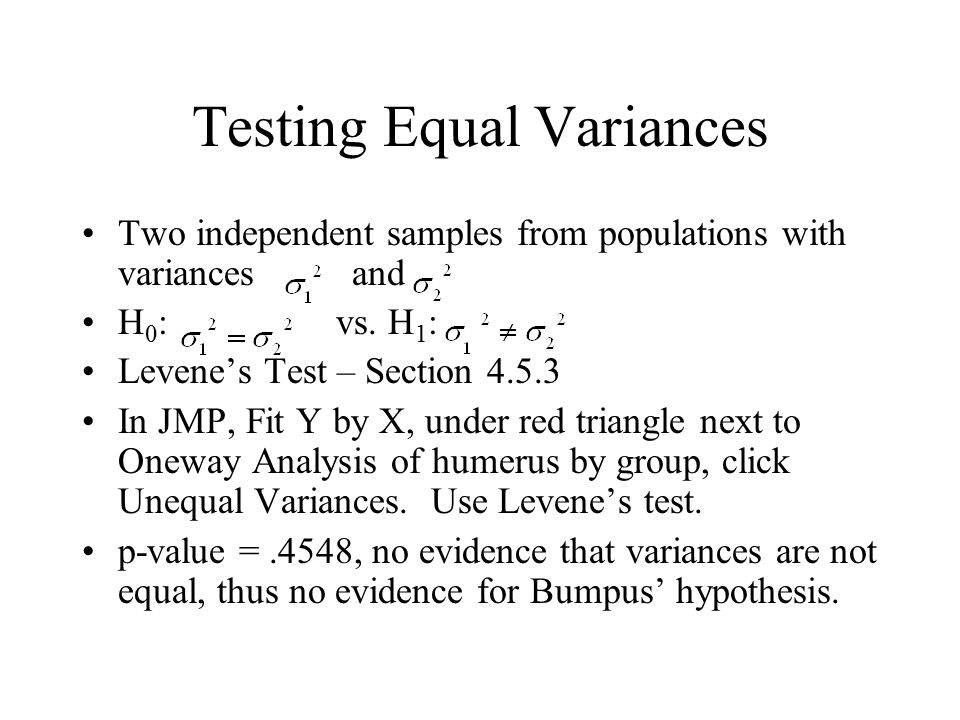 Testing Equal Variances