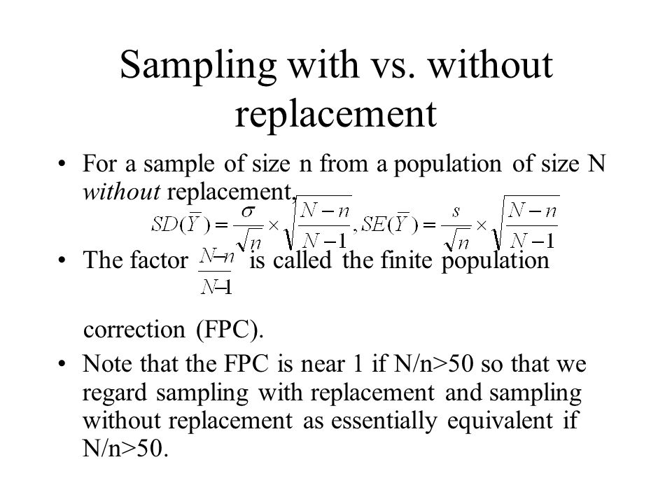 Sampling with vs. without replacement