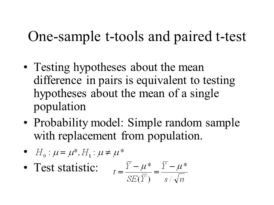 One-sample t-tools and paired t-test