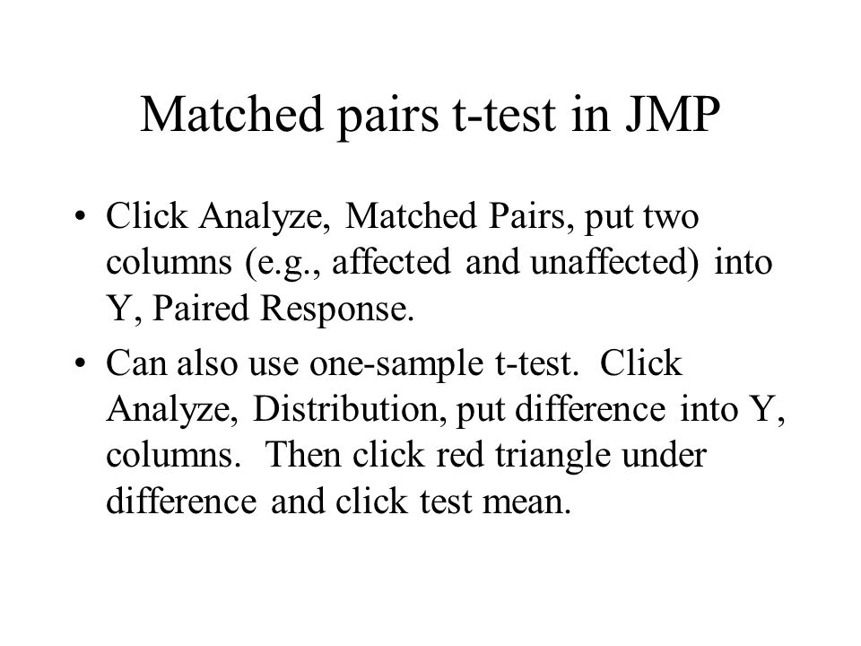 Matched pairs t-test in JMP