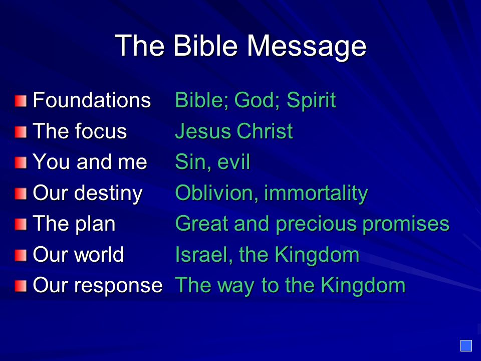 The Bible Message Foundations Bible; God; Spirit