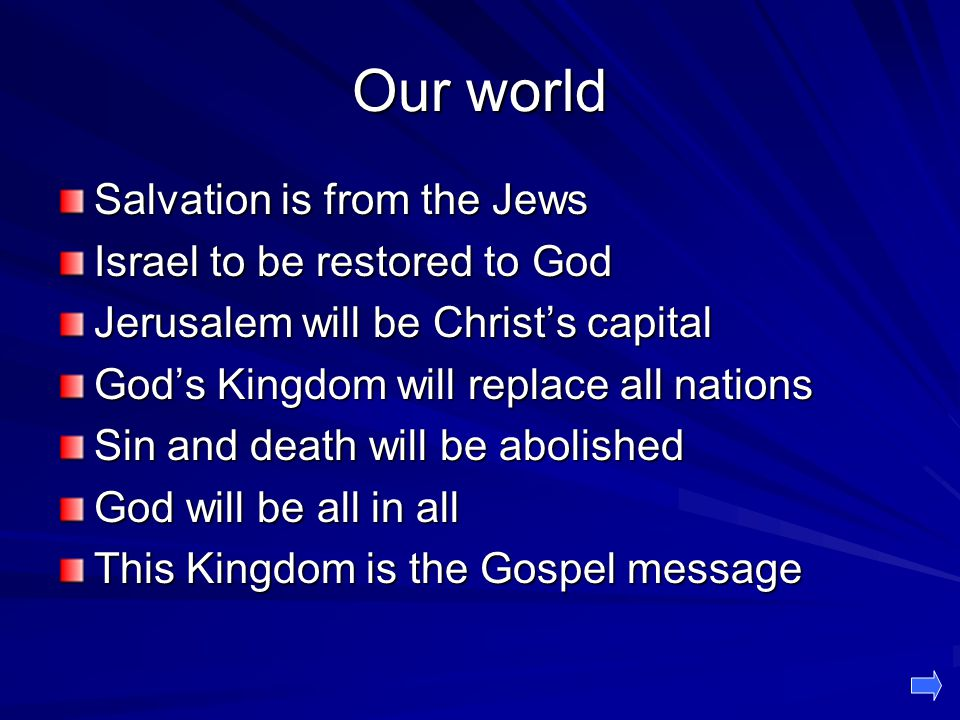 Our world Salvation is from the Jews Israel to be restored to God