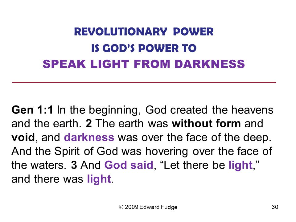 SPEAK LIGHT FROM DARKNESS