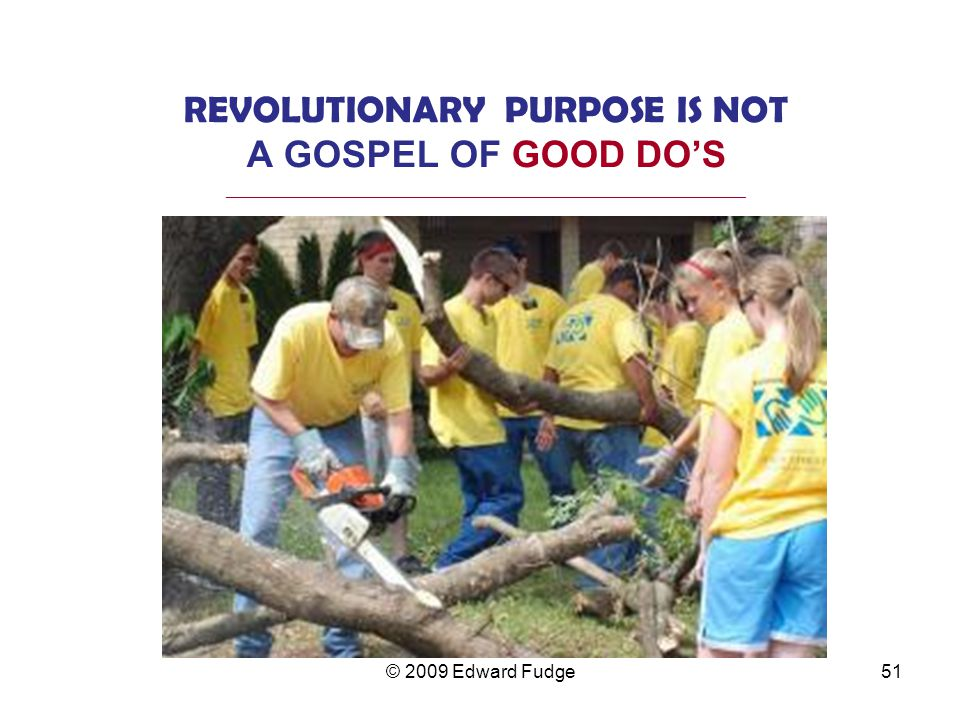 REVOLUTIONARY PURPOSE IS NOT A GOSPEL OF GOOD DO'S