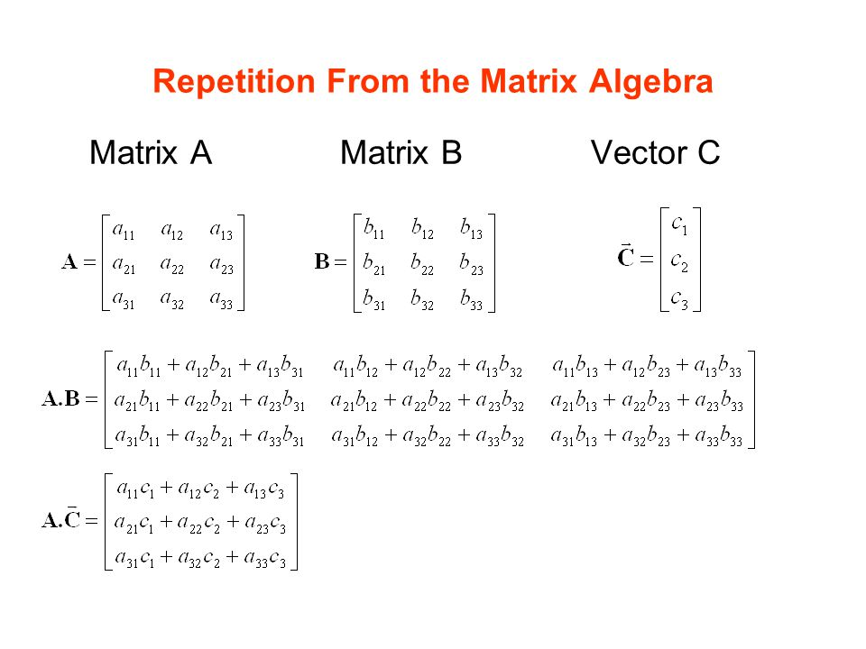 Repetition From the Matrix Algebra