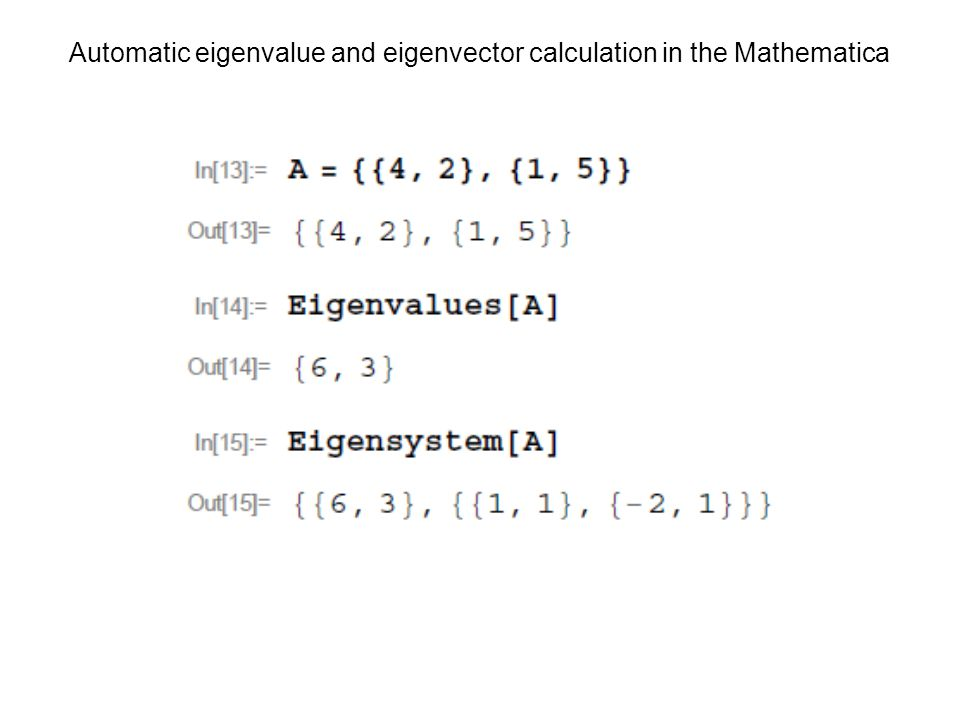 Automatic eigenvalue and eigenvector calculation in the Mathematica