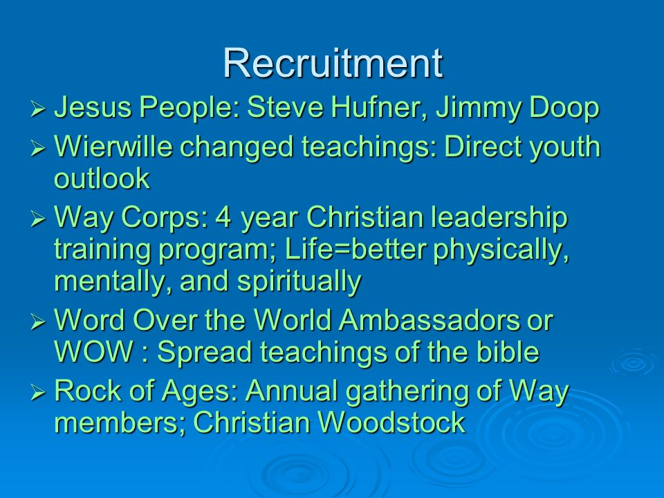 Recruitment Jesus People: Steve Hufner, Jimmy Doop