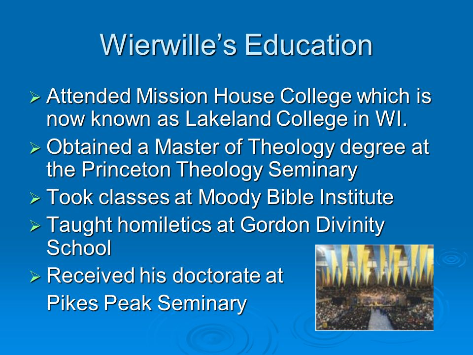 Wierwille's Education