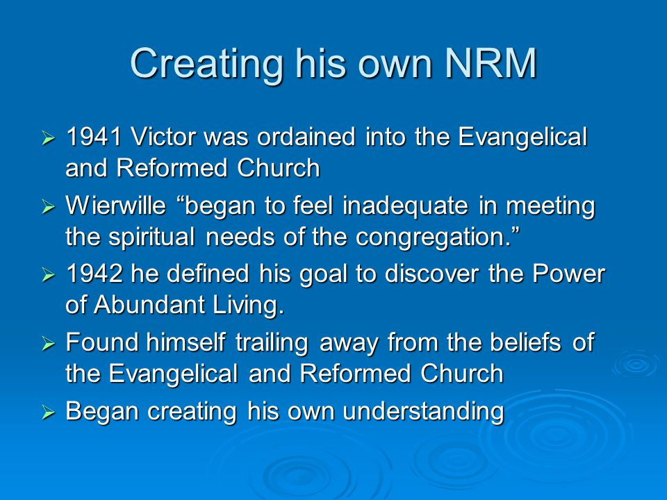Creating his own NRM 1941 Victor was ordained into the Evangelical and Reformed Church.