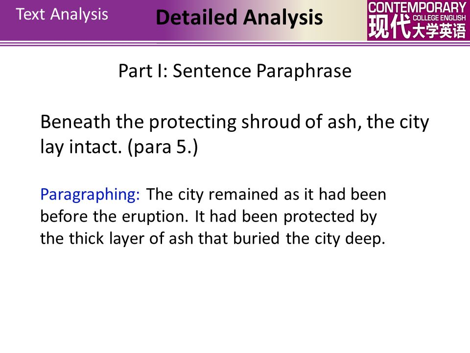 Beneath the protecting shroud of ash, the city lay intact. (para 5.)