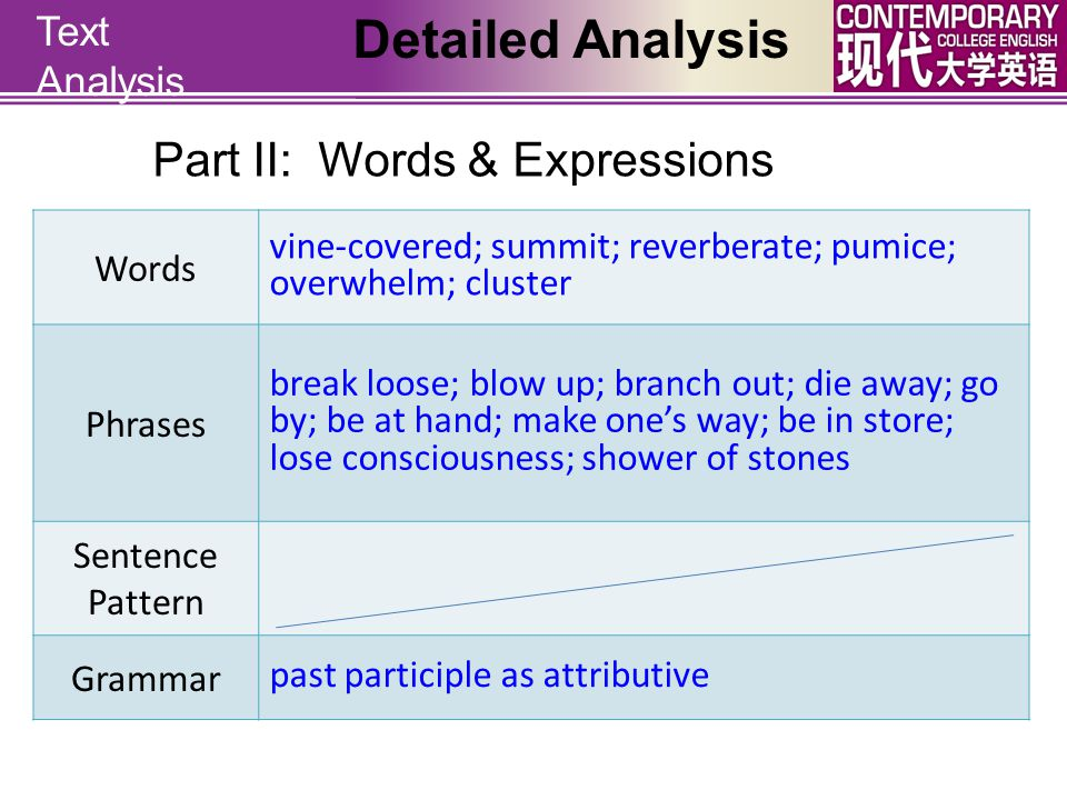 Detailed Analysis Part II: Words & Expressions Text Analysis