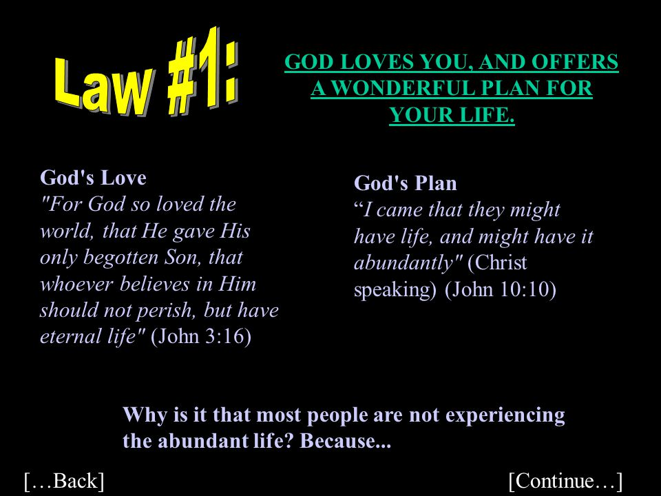 GOD LOVES YOU, AND OFFERS A WONDERFUL PLAN FOR YOUR LIFE.
