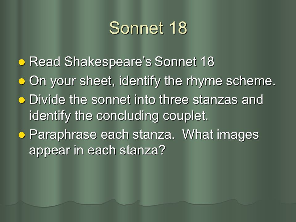 Sonnet 18 Read Shakespeare's Sonnet 18