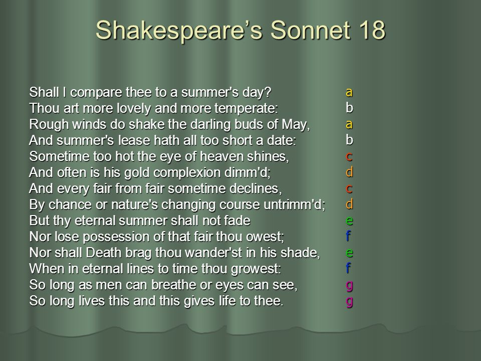 Shakespeare's Sonnet 18 a Shall I compare thee to a summer s day b