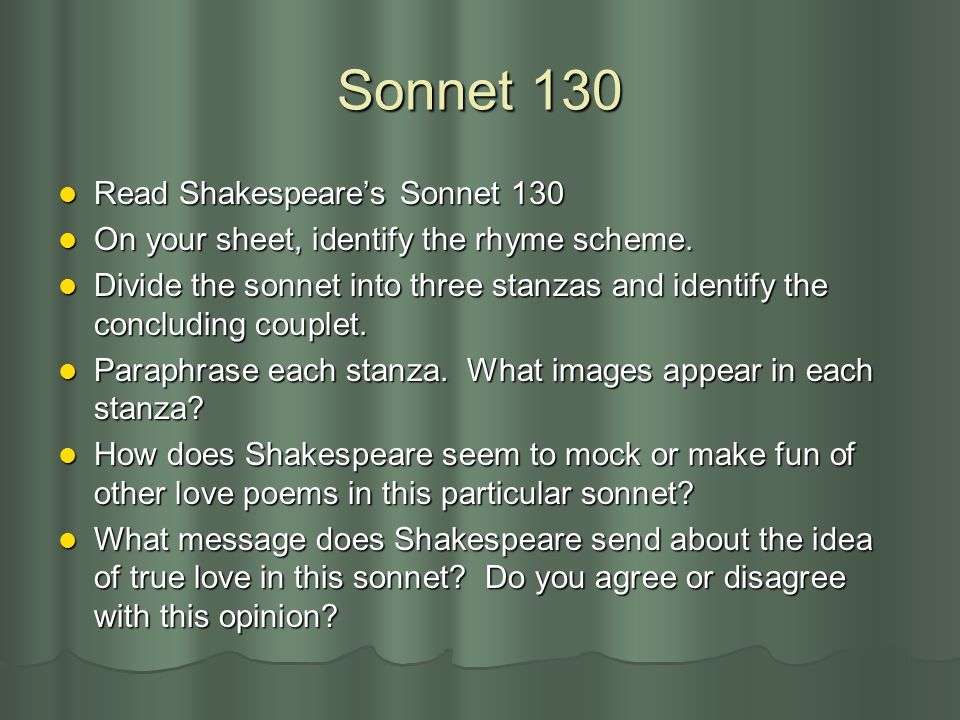 Sonnet 130 Read Shakespeare's Sonnet 130