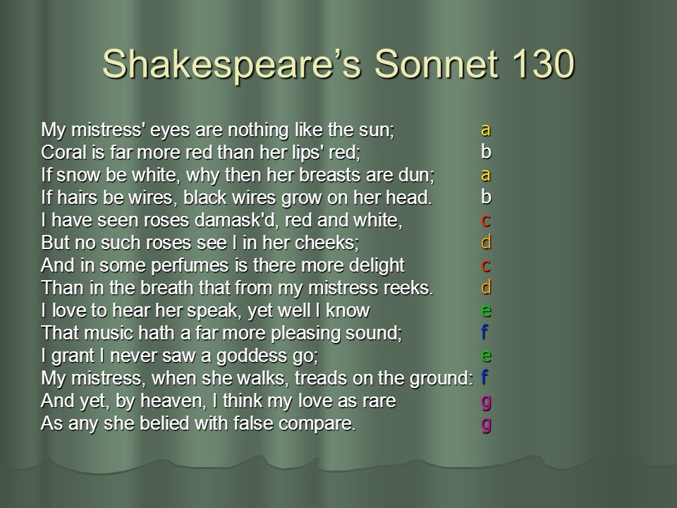 Shakespeare's Sonnet 130 a My mistress eyes are nothing like the sun;