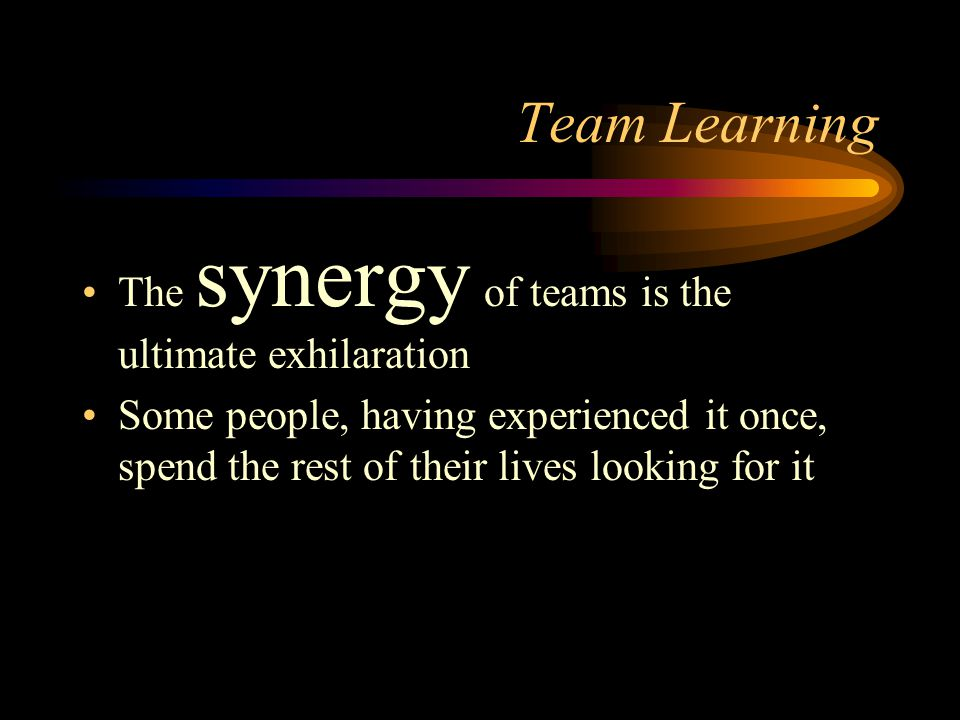 Team Learning The synergy of teams is the ultimate exhilaration