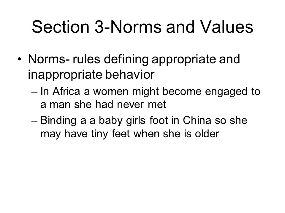 Section 3-Norms and Values