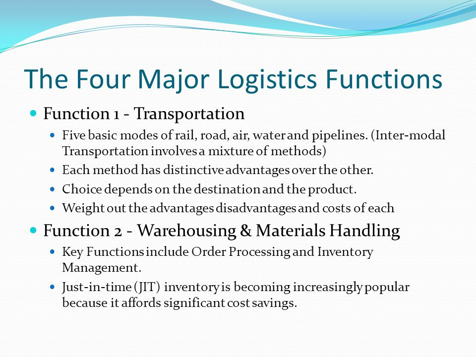 The Four Major Logistics Functions