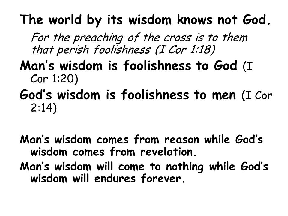 The world by its wisdom knows not God.