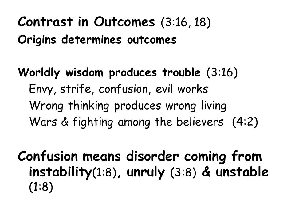 Contrast in Outcomes (3:16, 18)