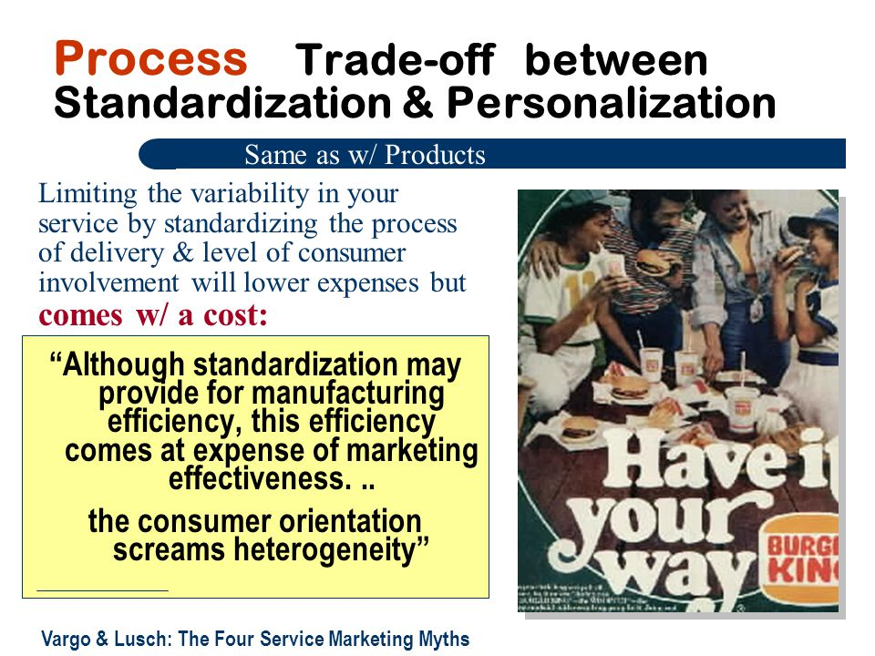 Process Trade-off between Standardization & Personalization