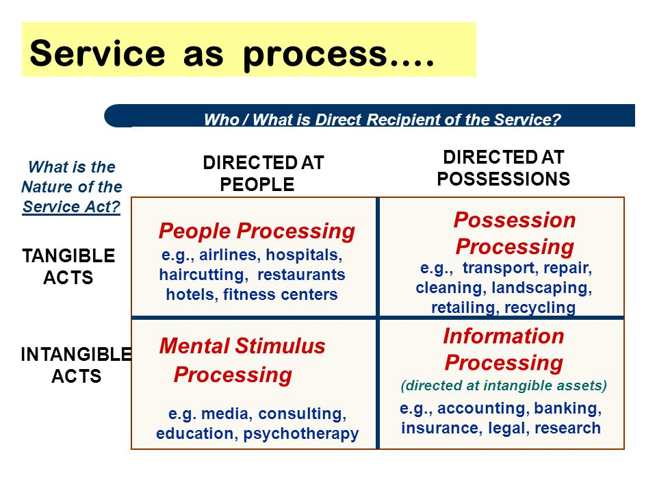 Service as process…. People Processing Mental Stimulus Processing