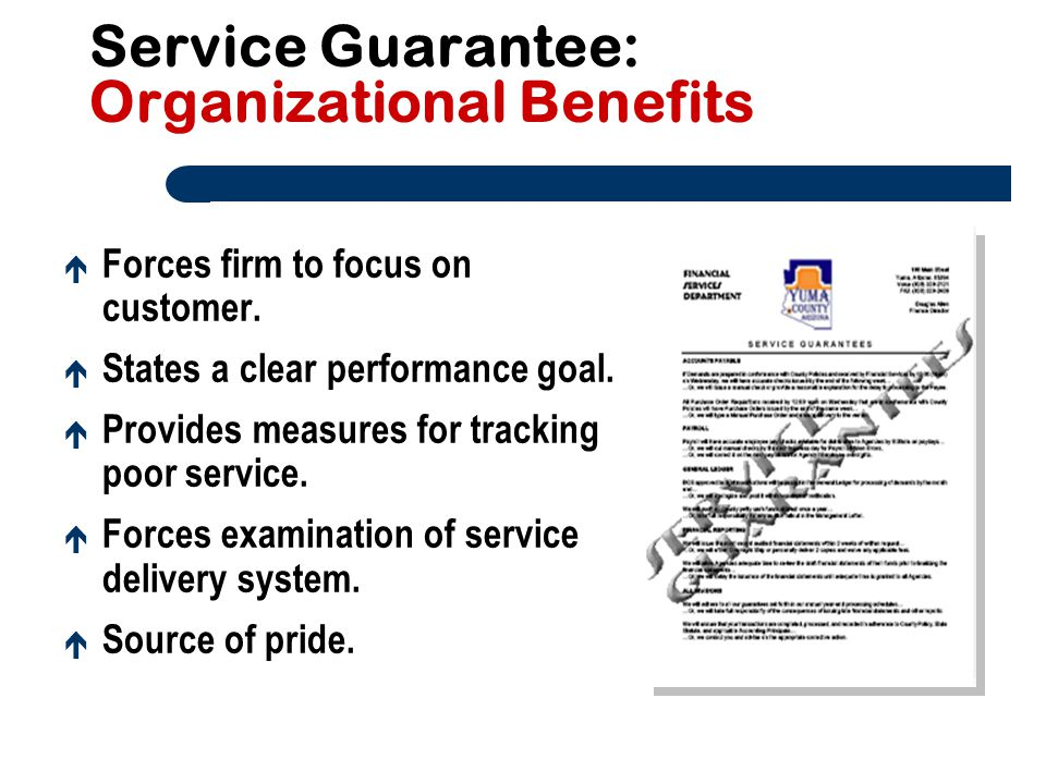 Service Guarantee: Organizational Benefits