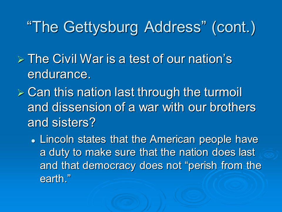 The Gettysburg Address (cont.)