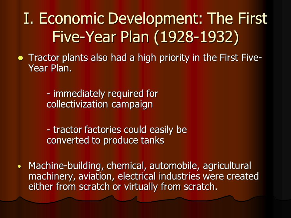 I. Economic Development: The First Five-Year Plan (1928-1932)