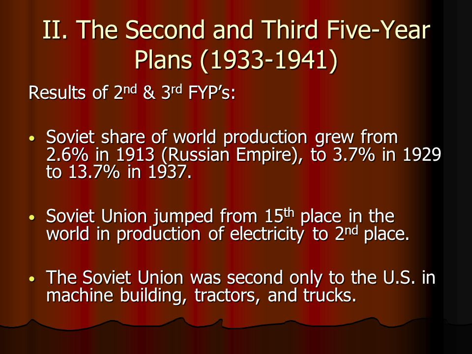 II. The Second and Third Five-Year Plans (1933-1941)