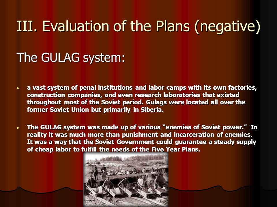 III. Evaluation of the Plans (negative)