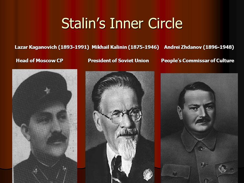 Stalin's Inner Circle Lazar Kaganovich (1893-1991) Mikhail Kalinin (1875-1946) Andrei Zhdanov (1896-1948)